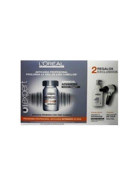 PACK L'OREAL EXPERT AMINEXIL ADVANCED OMEGA 6 ANTICAIDA 42 X 6 ML+CHAMPU 500ML+SECADOR VIAJE