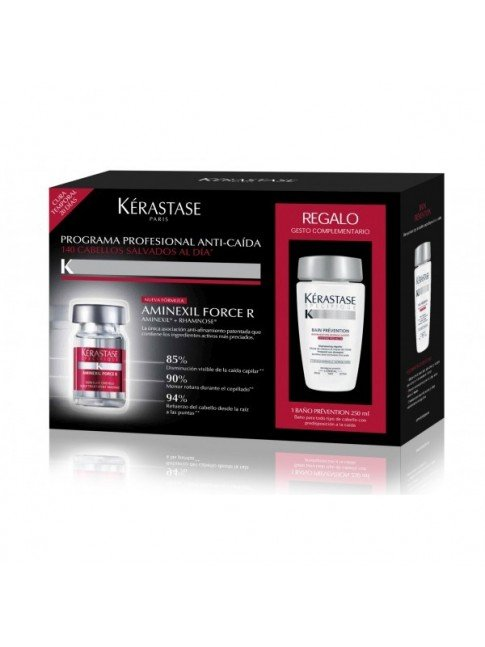 PACK 42 AMPOLLAS KERASTASE AMINEXIL FORCE R + CHAMPU PREVENTION 250ml
